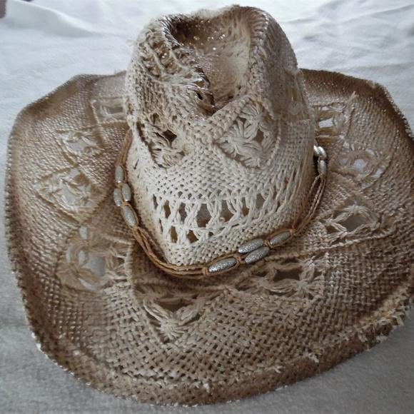 Distressed Beige Woven Straw Western Cowboy Hat. M 5b319c07035cf18f4c29db97 684a5438520